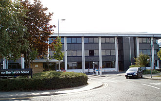 Nationalisation of Northern Rock - The 1990s buildings at the bank's headquarters at Regent Centre, Gosforth, Newcastle.