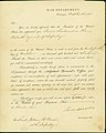Notice of military appointment signed Secretary of War Simon Cameron, War Department, Washington, to 2nd Lieutenant William M. Breese, 16th Infantry, October 26, 1861.jpg