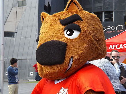 Nutmeg the Wombat, mascot of the cup at Federation Square Nutmeg the Mascot.JPG