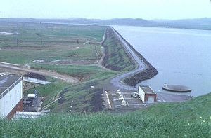 O'Neill Dam - O'Neill Forebay and Dam as seen from left bank.