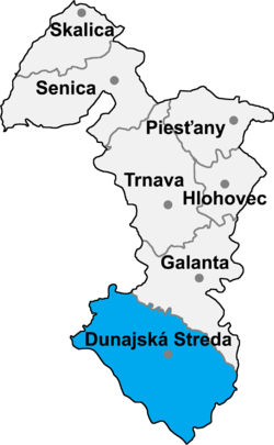 Location of Dunajska Stredas apriņķis