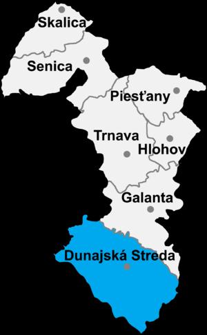 Lokasyon ng Distritong Dunajská Streda sa Rehiyon ng Trnava .