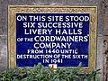 On this site stood six successive Livery Halls of the Cordwainers' Company from 1440 until destruction of the sixth in 1941.jpg
