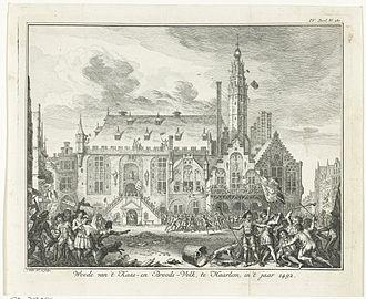 City Hall (Haarlem) - Image: Opstanding van het Kaas en Broodvolk in Haarlem in 1492 NCRD01 054759498