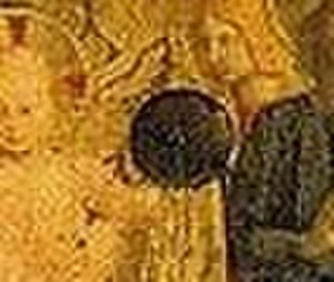 San Marco Altarpiece - Detail of the orb Jesus holds in his left hand.