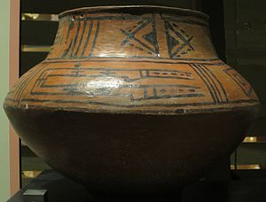 Puye Cliff Dwellings - San Lazaro glazed polychrome jar c. 1490-1550 CE, found at Otowi Pueblo near Puye, Heard Museum