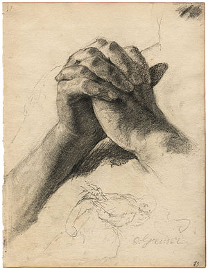 Prayer, meditation and contemplation in Christianity - Hands in prayer by Otto Greiner, c. 1900