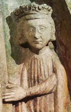 Ottokar I of Bohemia - Contemporary relief carving of Ottokar I in the tympanum of St George's Convent, Prague