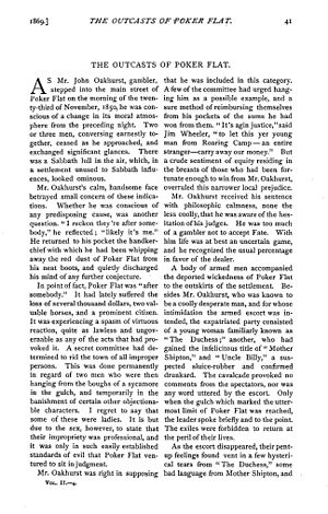 """The Outcasts of Poker Flat - """"The Outcasts of Poker Flat"""" from The Overland Monthly, January 1869"""