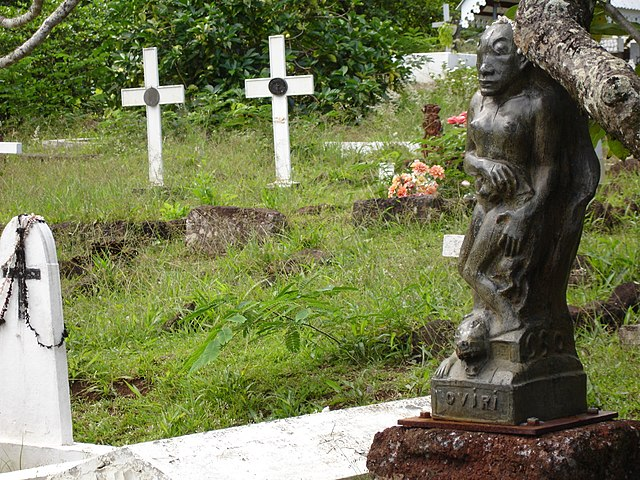 The grave of Paul Gauguin in Atuona, Marquesas Islands, is topped with a sculpture of Oviri. Photo by Christopher Brown