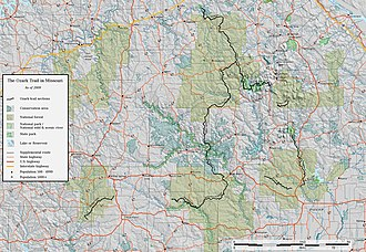 Ozark Trail (hiking trail) - Completed sections of the Ozark Trail