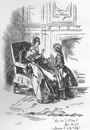 Jane Eyre - Young Jane argues with her guardian Mrs. Reed of Gateshead, illustration by F. H. Townsend