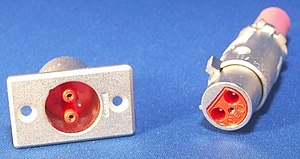 XLR connector - XLR-LNE three-pin male and female connectors, originally used for mains power connections. Note that the panel connector is shrouded for safety reasons.
