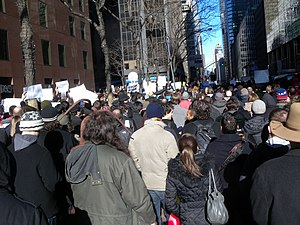 Protests against SOPA and PIPA - Anti-SOPA/PIPA protesters in New York City, in coordination with the Internet blackout