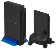 Slimline (left) and Original (right) PS2 consoles