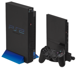 "Kiri: The original design with vertical stand. Kanan: The ""slimline"" PlayStation 2."