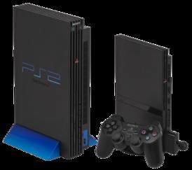 Слева: Оригинальная PlayStation 2, с вертикальной подставкой Справа: PlayStation 2 Slim, с вертикальной подставкой, 8 MB карта памяти и контроллер DualShock 2