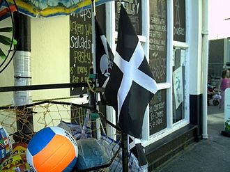 Cornwall - Souvenir flags outside a Cornish café