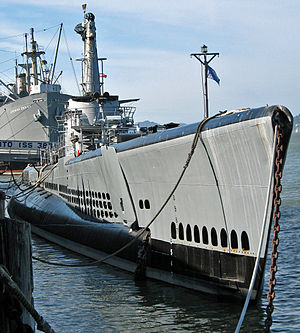 USS Pampanito, with SS Jeremiah O'Brien moored astern