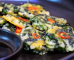 Green laver - Parae-gamja-jeon (green laver potato pancake)