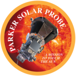 "Artwork of the spacecraft next to the Sun, enclosed in a circle with a yellow border. The words ""Parker Solar Probe"" are placed around the interior of the border, while the words ""a mission to touch the Sun"" are written inline in a smaller font in the bottom right of the image."