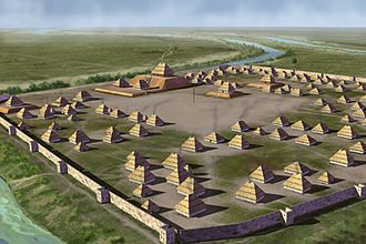 Mound Builders - Illustration of the Parkin Site, thought to be the capital of the Province of Casqui visited by de Soto