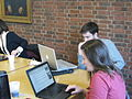 Participants choosing topics at Mudd Library Edit-a-thon.JPG