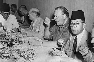 Linggadjati Agreement - Linggadjati participants: Sukarno, Wim Schermerhorn, Lord Killearn, and Mohammad Hatta at the meal