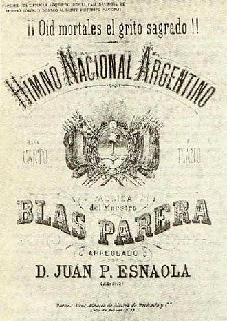 Argentine National Anthem - Music sheet found in Santa Ana de Velasco, Bolivia, c. 1860.