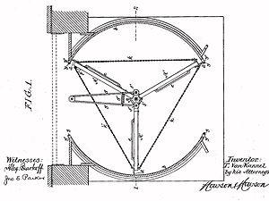 "Revolving door - Patent drawing by Theophilus Van Kannel for a ""Storm-Door Structure"", 1888"