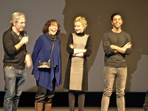 Grandma (film) - Director Paul Weitz with cast Lily Tomlin, Julia Garner and Mo Aboul-Zelof at the 2015 Sundance Film Festival.
