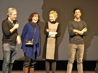 Grandma (film) - Director Paul Weitz with cast Lily Tomlin, Julia Garner and Mo Aboul-Zelof at the 2015 Sundance Film Festival