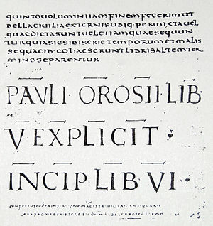 Orosius - Page from a manuscript of Orosius's Histories held in Florence.
