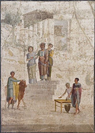 Argonauts - Pelias, king of Iolcos, stops on the steps of a temple as he recognises young Jason by his missing sandal; Roman fresco from Pompeii, 1st century AD.