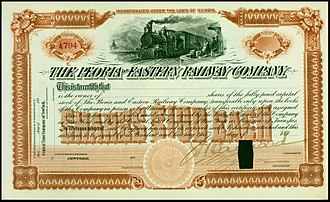 Peoria and Eastern Railway - Share of the Peoria and Eastern Railway from the 1890s, unissued