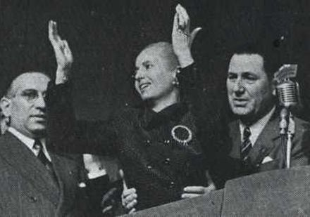 Eva Peron addresses the Peronists on 17 October 1951. By this point she had become too weak to stand without Juan Peron's aid. Peron y Eva - Acto en Plaza de Mayo -1MAY1952.jpg