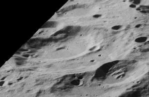 Perrine (crater) - Oblique Lunar Orbiter 5 image, facing west