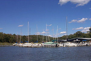 Perry Lake (Kansas) - Sailboats and other watercraft in the Perry Lake marina.