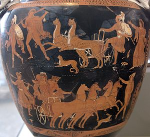 Thesmophoria - The Thesmophoria commemorated the kidnap of Persephone by Hades, and her return to her mother Demeter.  Hades and Persephone ride the chariot on the lower part of this vase which depicts the myth; Demeter is shown on the top right corner.