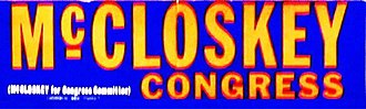 Pete McCloskey - Congressional campaign bumper sticker
