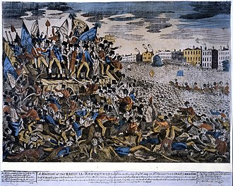 Peterloo Massacre - A print published on 27 August 1819 depicting Hunt's arrest by the constables