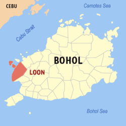 Map of Bohol showing the location of Loon