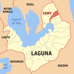 Map of Laguna showing the location of Famy.