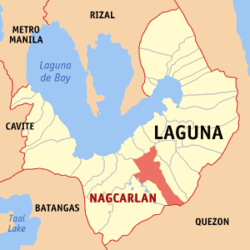 Map of Laguna showing the location of Nagcarlan.