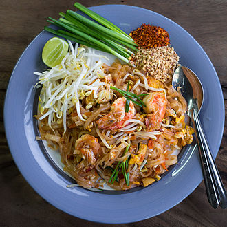 Thai cuisine - Phat thai kung, accompanied with a spoon