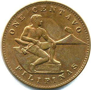 Name of the Philippines - The observe of a 1944 one centavo coin. Filipinas is printed on the lower ring.
