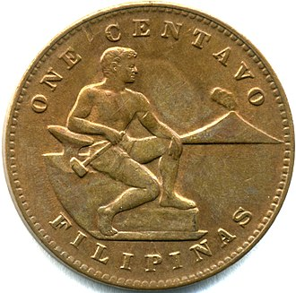 """Names of the Philippines - The obverse of a 1944 one centavo coin. """"Filipinas"""" is printed on the lower ring."""
