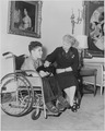 Photograph of First Lady Bess Truman at the White House with Michael Danna of South Ozone Park, New York, the... - NARA - 200397.tif
