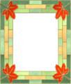 Picture frame leaves stainedglass 01.png
