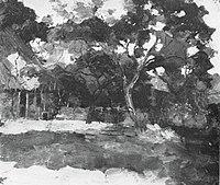 Piet Mondriaan - Farm buildings in Het Gooi, veiled by trees - A175 - Piet Mondrian, catalogue raisonné.jpg